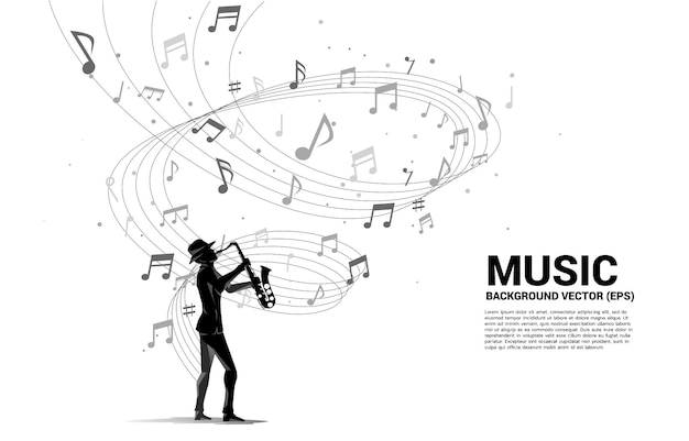 Vector silhouette of saxophonist with music melody note dancing flow . concept background for classic music concert and recreation.