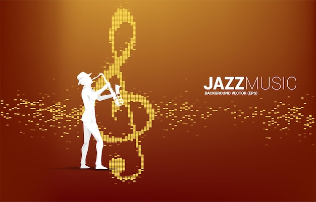Vector silhouette of the saxophonist with music note icon sound wave equalizer background. concept background for jazz song and concert theme.