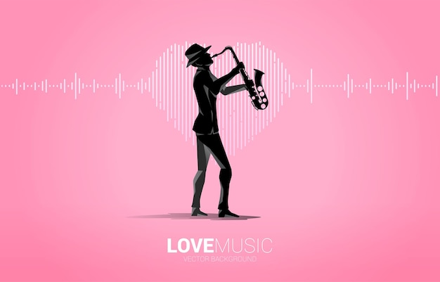 Vector silhouette of saxophonist with sound wave heart icon music equalizer background. love song music visual signal