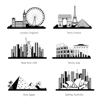 Vector silhouette set with panoramas of famous landmarks.