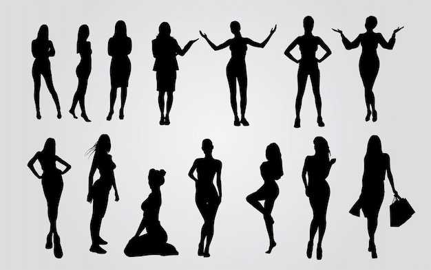 Vector silhouettes of ladys. sexy women silhouettes