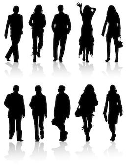 ベクトルシルエットの男性と女性、ベクトルイラスト