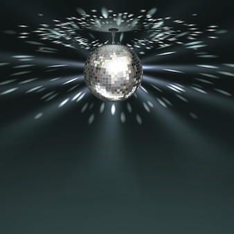 Vector silver disco ball with glowing on dark background