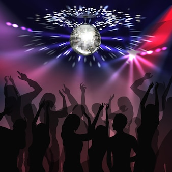 Vector silver mirror ball with glowing, spotlights and silhouettes of people on disco party