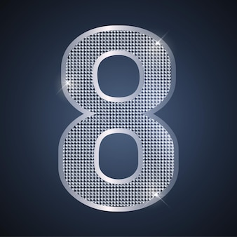 Vector silver number eight shining number 8 for eighth year birthday or anniversary celebration