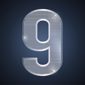 Vector silver number nine shining number 9 for ninth year birthday or anniversary celebration