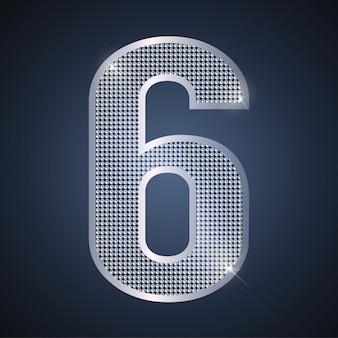 Вектор серебро номер шесть сияющий номер 6 на шестилетний день рождения или годовщину празднования