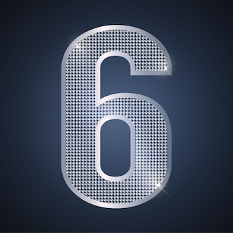 Vector silver number six shining number 6 for sixth year birthday or anniversary celebration