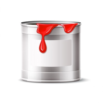 Vector silver paint can blank bucket with red paint