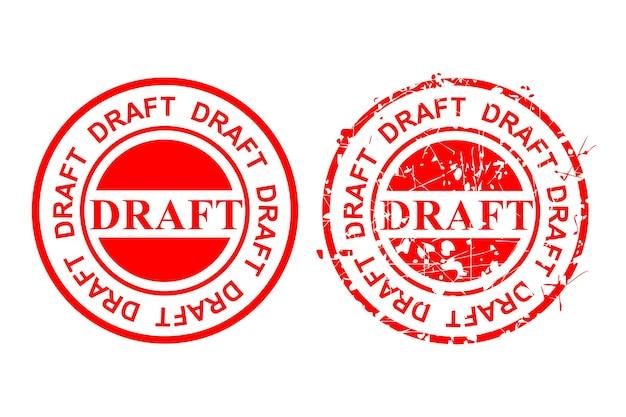 벡터 간단한 2 스타일 빨간색 스크래치 원 고무 스탬프, 초안, 흰색에 격리 됨