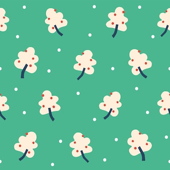 雪モチーフイラストシームレスな繰り返しパターン緑の背景を持つベクトルシンプルなベリーの木