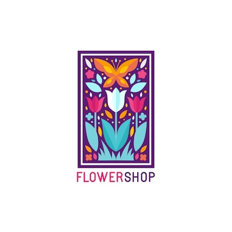 Vector simple and elegant logo design template in trendy flat style - abstract emblem for floral shop Premium Vector