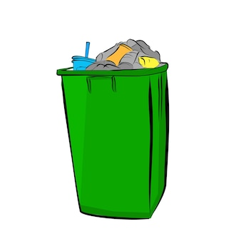 Vector simple hand draw sketch, colorful full and dirty trash bin with shadow at white background