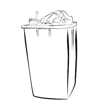 ベクトルの簡単な手描きのスケッチ、白い背景の完全な汚れたゴミ箱