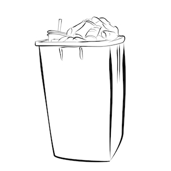 Vector simple hand draw sketch, full and dirty trash bin at white background