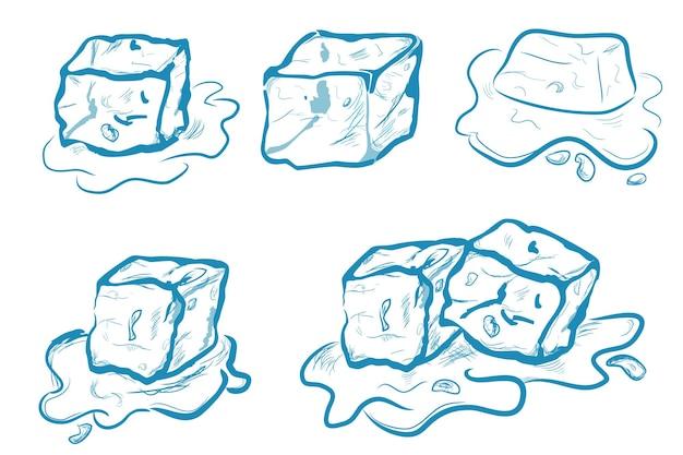 벡터 간단한 손 그리기 스케치, 녹는 아이스 큐브, 흰색 절연