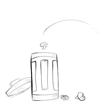 ベクトルの簡単な手描きのスケッチ、白い背景でビンに投げられた紙のゴミ箱