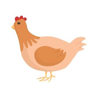 白い背景の上のベクトルのシンプルな孤立したイラスト。茶色の鶏または鶏の漫画の絵。子供のデザイン要素