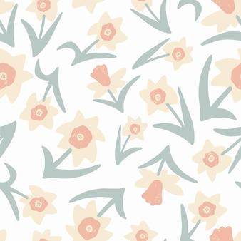 Vector simple and modern scandinavian design flower illustration seamless repeat pattern fashion