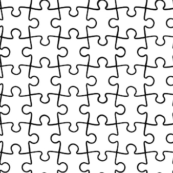 Vector simple seamless pattern of black and white puzzles. a textured background from parts for a puzzle.