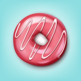 Vector single donut with pink icing and white stripes top view isolated on blue background