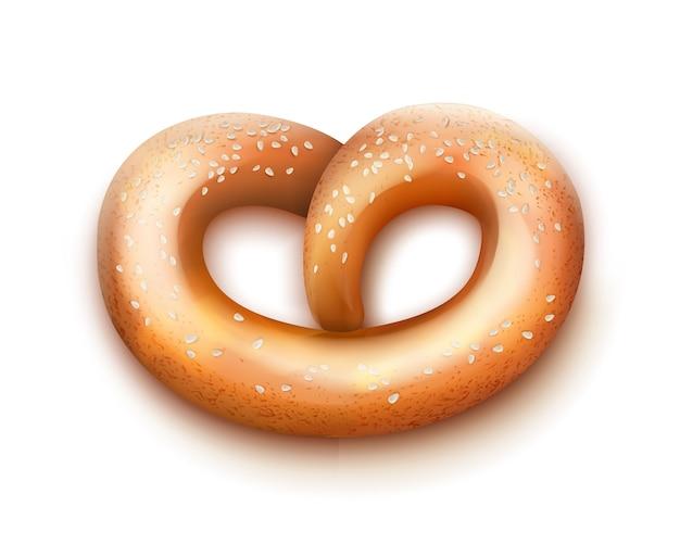 Vector singolo pretzel al forno fresco con semi vista dall'alto isolato su sfondo bianco