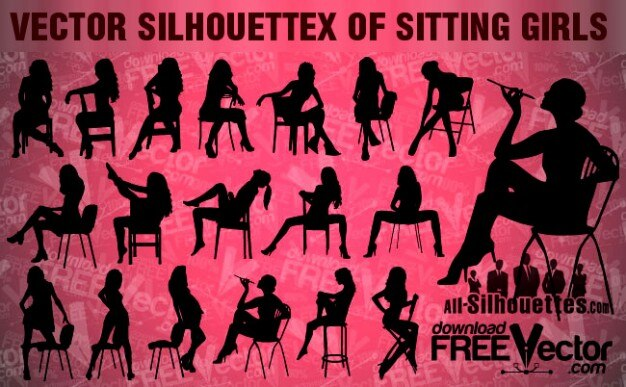 Vector sitting girls   all silhouettes