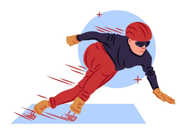 Vector skater in shadow of sharp lines style