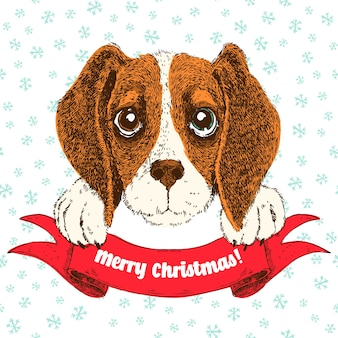 Vector sketch illustration of funny beagle puppy. cute dog witn ribbon and greetings.