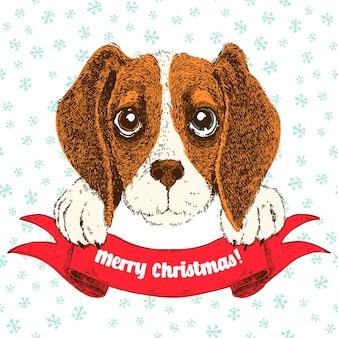 Векторная иллюстрация эскиз смешной бигль щенка. симпатичная собака witn лента и приветствия.