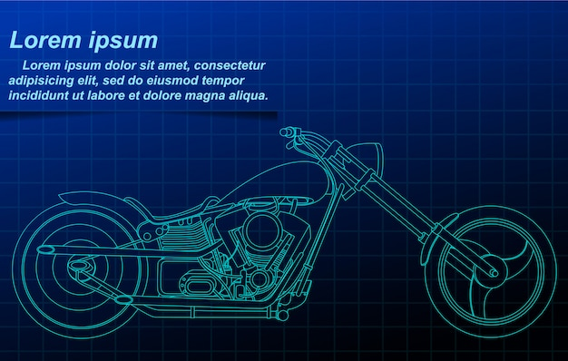 Vector sketch motorcycle blueprint.