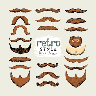 Vector sketch mustaches and beards in retro style