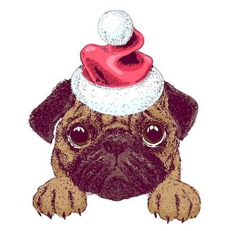Векторный эскиз милого мопса щенка с санта шляпу. новогодняя рождественская открытка.