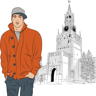 모스크바에서 세련 된 남자의 벡터 스케치