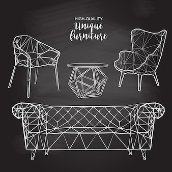 Vector sketch polygonal chairs sofa coffee table