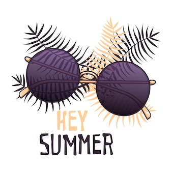 Vector sketch sunglasses in vintage style. lettering: hey summer.