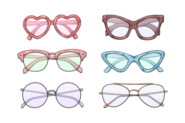 Vector sketch sunglasses in vintage style.