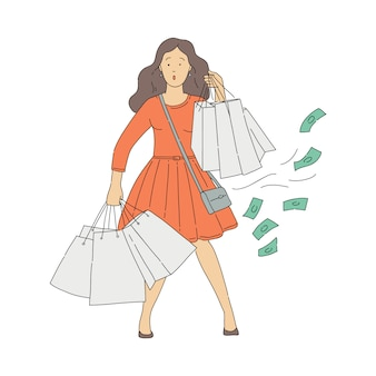 Vector sketch woman shopaholic with shop addiction