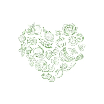 Vector sketched fresh vegetables and fruits in shape of heart illustration, vegan banner poster
