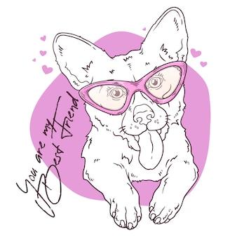 Vector sketching illustrations. portrait of a cute corgi dog.