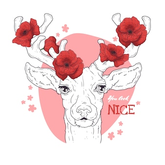 Vector sketching illustrations. portrait of deer with poppies.