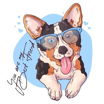 ベクタースケッチイラスト。かわいいコーギー犬の肖像画。 Premiumベクター