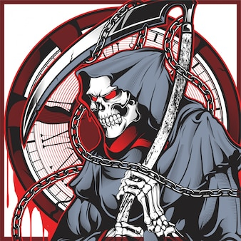 Vector of skull of grim reaper with the sickle