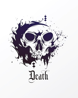 Векторный череп в стиле гранж. дизайн чернил иллюстрации черепа