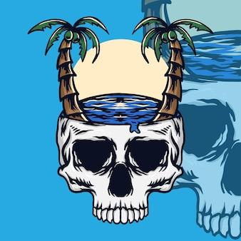 Vector skull summer vibes color