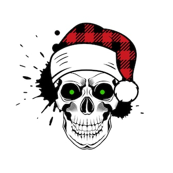 Vector skull with santa hat paint splashes and drips