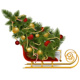Vector sled with christmas tree isolated on white background