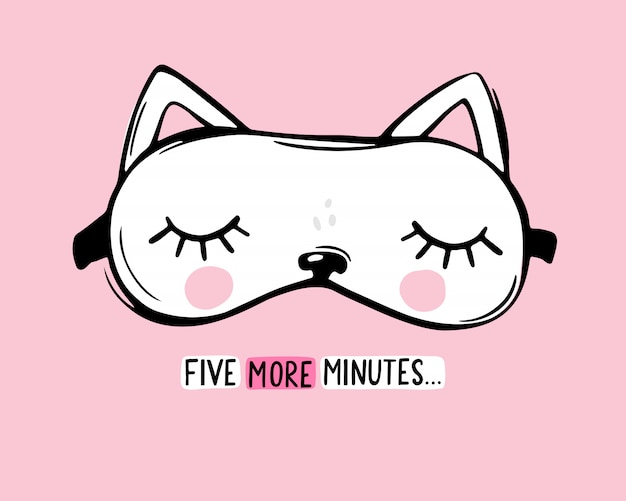 Vector sleep mask white cat shaped and quote five more minutes