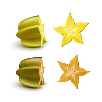 벡터 슬라이스 녹색, 노란색, 주황색 carambola 흰색 배경에 고립