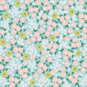 벡터 작은 꽃 그림 모티브 ditsy 원활한 반복 패턴 디지털 파일 패턴 작품